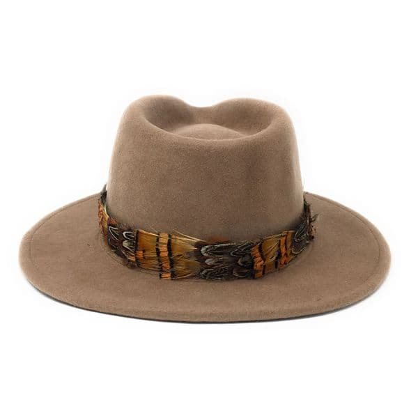 Womens Showerproof Wool Camel Fedora Hat with Country Feather Wrap Trim - Mickleton